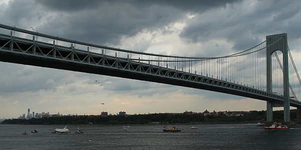 Enterprise under Verrazano-Narrows Bridge.