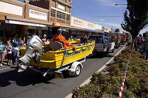 NSWSES vehicle in the SunRice Festival parade in Pine Ave (1).jpg