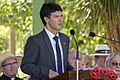 NSW state member for Ryde and Minister for Citizenship, Communities and Aboriginal Affairs Victor Dominello giving the Message from the Premier at the Centenary of the Kangaroo March launch (2).jpg