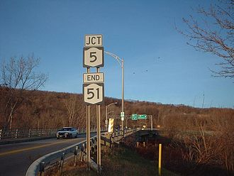 New York State Route 51 - NY 51 approaching the junction with NY 5 in Herkimer