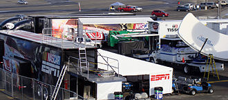 NASCAR on ESPN - The ESPN media compound at Auto Club Speedway in 2010