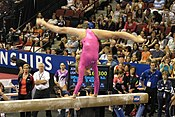 Liukin performs on the balance beam at the 2008 U.S. National Championships.