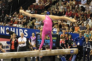 English: Nastia Liukin on the balance beam at ...