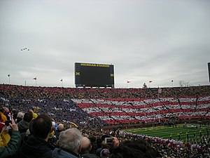 2011 Michigan Wolverines football team - The card stunt and flyover prior to the game