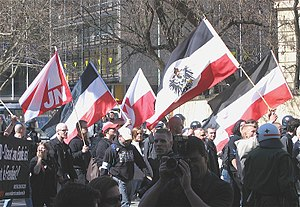 Strafgesetzbuch section 86a - Participants in a Neo-Nazi march in Munich (2005) resorted to flying the Reichsflagge and Reichsdienstflagge of 1933–1935 (outlawed by the Nazi regime in 1935) due to § 86a