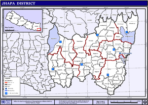Map of the Village Development Committees in Jhapa District