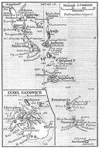 Karte der Neuen Hebriden von 1905