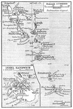 1905 map of New Hebrides, still showing Franceville as alternative name for Port Vila