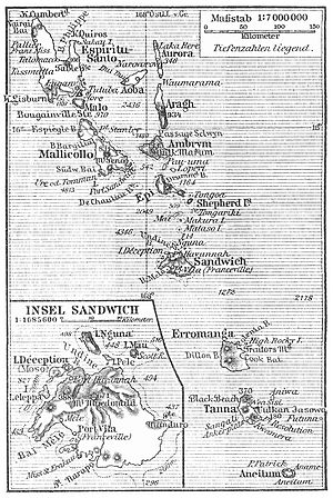 Franceville, New Hebrides - 1905 map of New Hebrides, still showing Franceville as alternative name for Port Vila