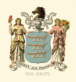 Flag and coat of arms of New Jersey - New Jersey state historical coat of arms (illustrated, 2017)