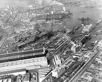 Brooklyn Navy Yard - Aerial photo taken in April 1945