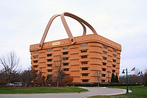 Licking County, Ohio - Longaberger headquarters in Newark, Ohio, a giant Longaberger Medium Market Basket.
