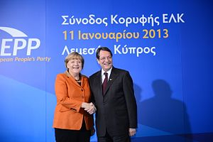 Nicos Anastasiades - Angela Merkel with Nicos Anastasiades in 2013 at the EPP summit in Limassol