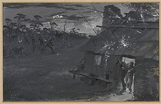 """Australian frontier wars - """"Night Attack by Blacks"""", monotone painting by Livingston Hopkins"""