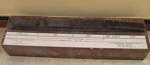 Coherence (units of measurement) - Measuring rod on exhibition in the Archeological Museum of Istanbul (Turkey) dating to the (3rd millennium BC) excavated at Nippur, Mesopotamia.  The rod shows the various units of measure in use.