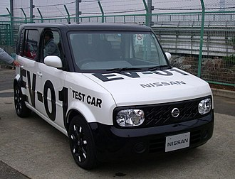 Nissan Leaf - The Nissan Cube-derived EV-01 test car was Nissan's first prototype with the all-electric drive train later used in the Leaf.