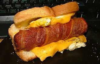 Hot dog variations - A Jersey breakfast dog with cheese