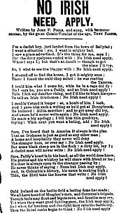 1862 Song That Used The No Irish Need Apply Slogan It Was Copied From A Similar London