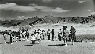Round Valley Indian Tribes of the Round Valley Reservation - Members of the Round Valley Indian Tribe retrace the 1863 route of the Nome Cult walk, a forced relocation of Indians from Chico, Calif., to Covelo, CA.