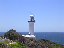 Norah Head lighthouse, located on the headland