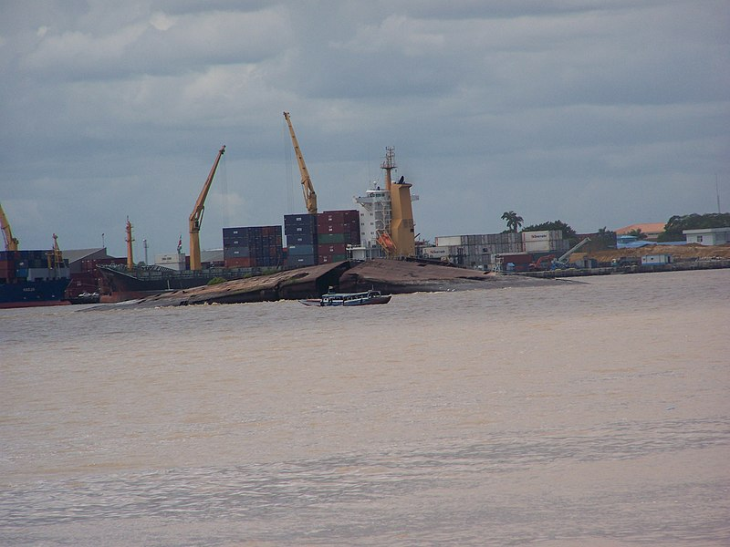 File:North German Lloyd cargo ship Goslar scuttled in Paramaribo ...