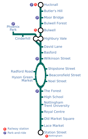 A map of the Nottingham tramway.