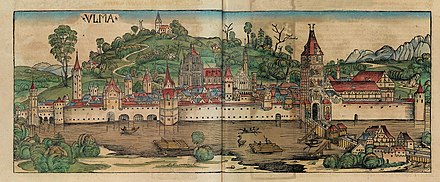 Ulm in the 1493 Nuremberg Chronicle. Nuremberg chronicles f 190v191r 1.jpg