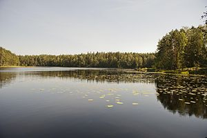 Nuuksio National Park - One of the Nuuksio lakes surrounded by forest.