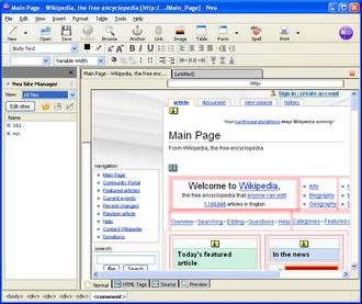 Nvu - Image: Nvu screenshot 2
