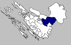 Map of the Obrovac municipality within the Zadar County