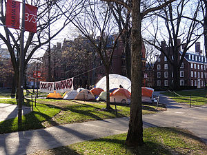 Occupy Harvard - Tents and banner at Occupy Harvard