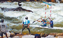 Whitewater slalom contestants on the Ocoee River during the 1996 Olympics