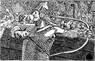 Einar Thambarskelfir - At the Battle of Svolder, Einar Thambarskelfir tries the king's bow and finds it too weak.