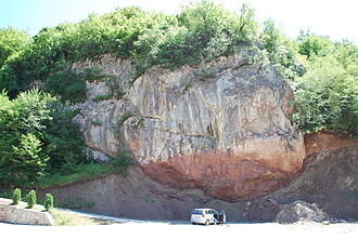Olistostrome - Roadside cross-section of a large olistolith in the ophiolithic melange, Western Vardar Ophiolithic Unit of Serbia
