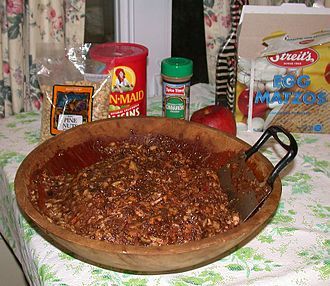Charoset - Sephardi-style charoset made from apples, pears, raisins, figs, orange juice, red wine, pine nuts and cinnamon