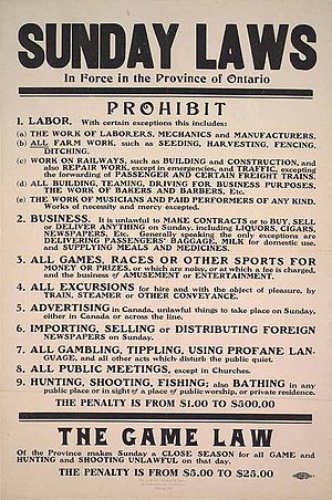 Sunday shopping - Sunday Laws in Ontario, 1911