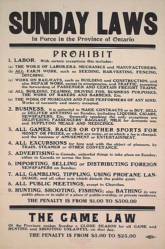 Blue law - Sunday Laws in Ontario, 1911