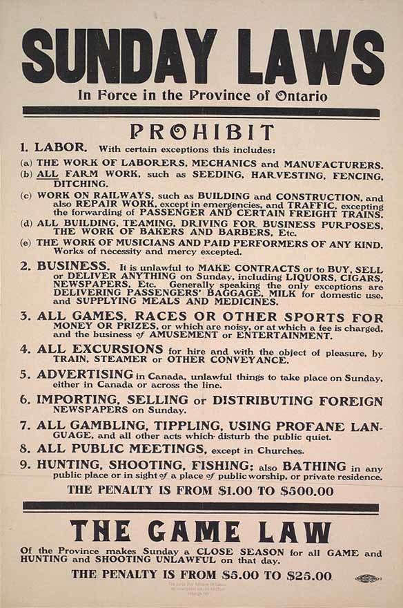 Ontario Sunday Laws