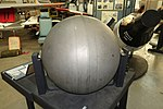 Oregon Space Ball, probably from the equipment module of Gemini 3, 4, or 5 mission, titanium - Oregon Air and Space Museum - Eugene, Oregon - DSC09749.jpg