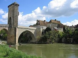 Battle of Orthez (1569) - Le Pont-Vieux over the Gave de Pau in Orthez.  The opening in the parapet of the bridge is the point from which the Catholic priests of Orthez were thrown to their deaths during the massacre.