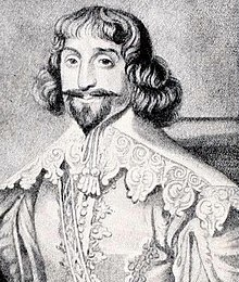 Print of a rather generic Cavalier, with long moustache and pointed beard.