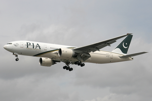 Pakistan International Airlines destinations - A Pakistan International Airlines Boeing 777-200ER at Heathrow Airport. (2010)