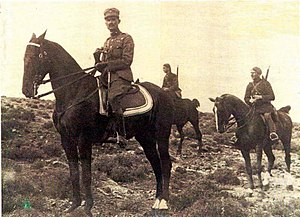 5/42 Evzone Regiment - Plastiras with mounted Evzones during the Asia Minor Campaign