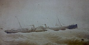 SS Ben-my-Chree (1875) - Painting of Ben-my-Chree prior to her 1884 refit.