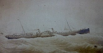 SS Ben-my-Chree (1875) - Painting of Ben-my-Chree prior to her 1884 refit.