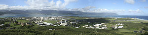Marine Corps Base Hawaii - A panoramic view of Marine Corps Base Hawaii and Kaneohe Bay, taken from the top of K-T.