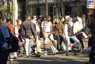 Electric unicycle - Self-balancing unicycles at 'Paris sans Voiture' (Paris without cars), September 2015.