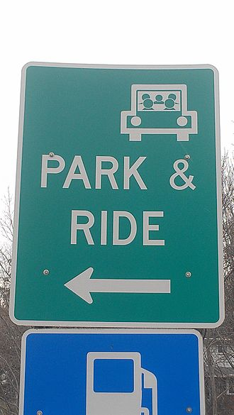 Carpool - Typical park-and-ride sign in the United States, this one located at the interchange between Interstate 79 and Pennsylvania Route 488 in Portersville, Pennsylvania north of Pittsburgh. Such services are used to encourage carpooling.