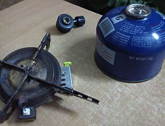 Portable stove - Three parts of portable gas-Cartridge, Burner and Regulator