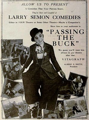 Larry Semon - Image: Passing the Buck (1919) Ad 1